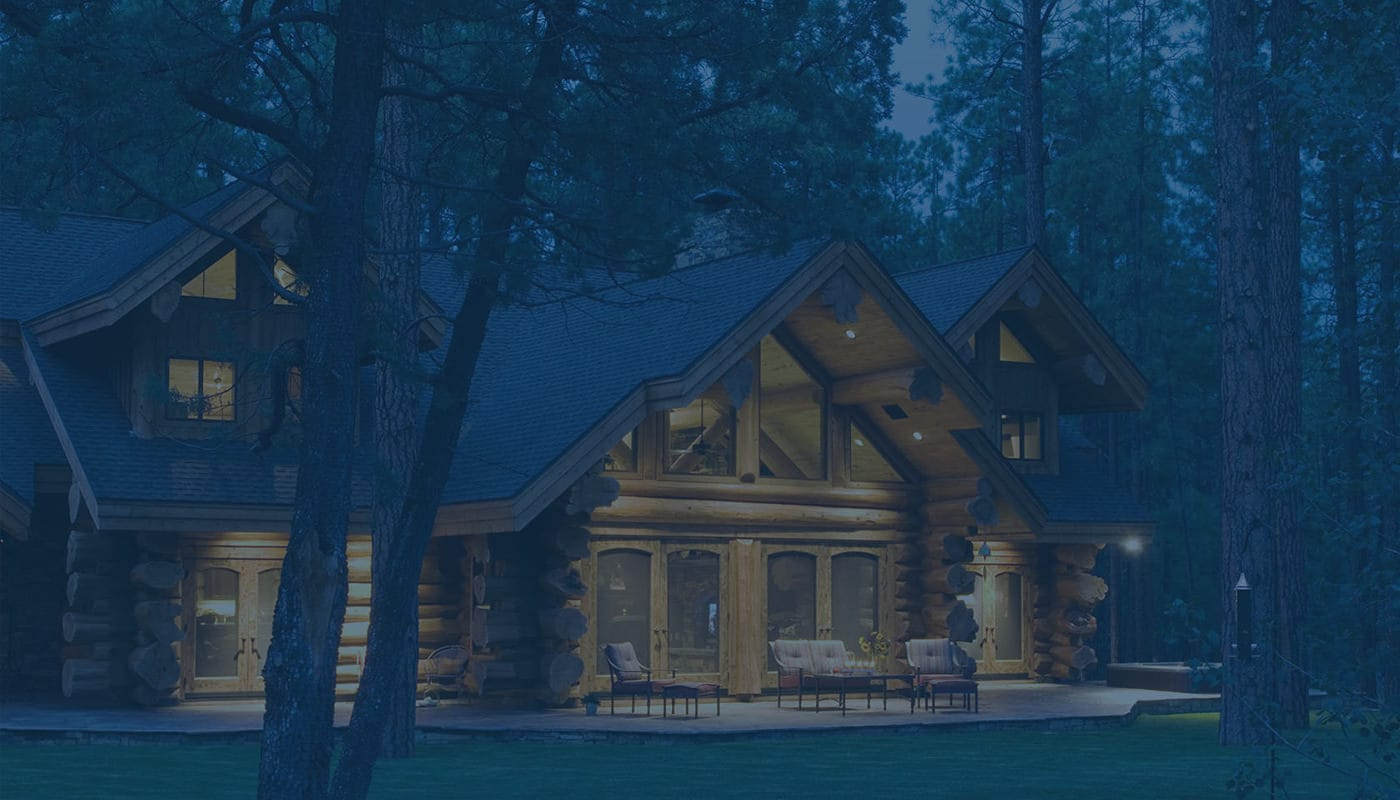 Log Home Backyard at Night