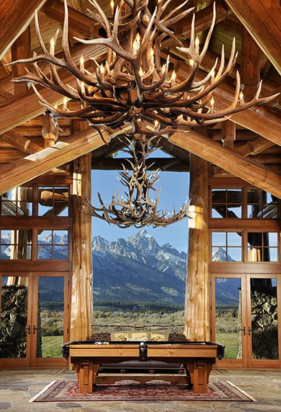 Antlers and pool table