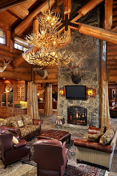 Living room with antler chandeliers