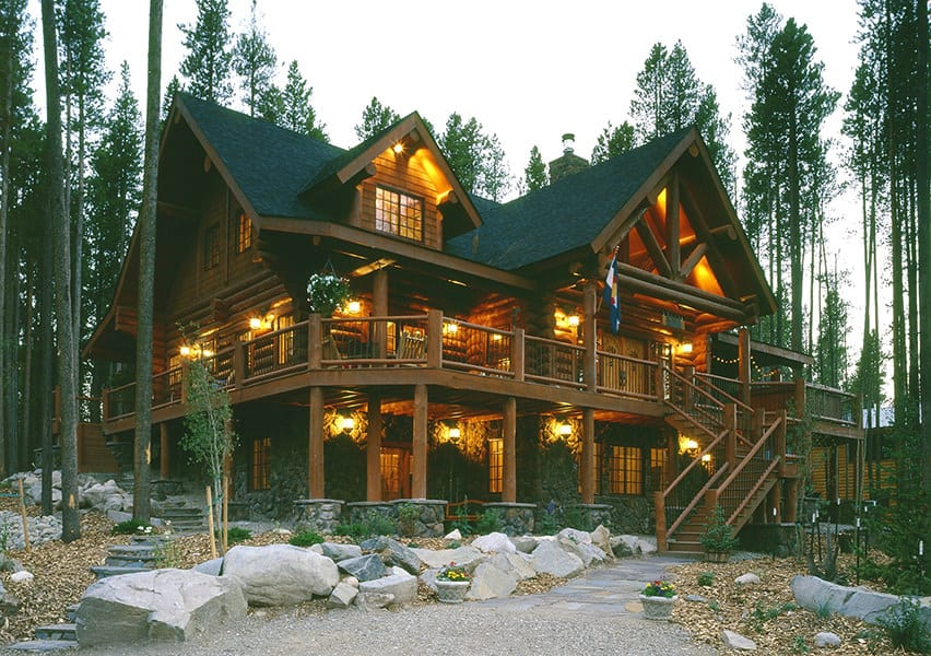 Log home from outside